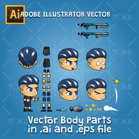 Aex - Boy 2D Game Character Sprite - Adobe Illustrator Vector Art Based