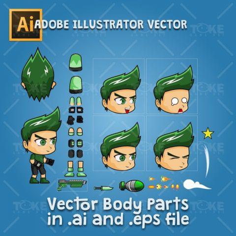 Rick - Boy 2D Game Character Sprite - Adobe Illustrator Vector Art Based