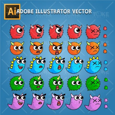 Enemy Monster Pack 2D Game Character Sprite - Adobe Illustrator Vector Art Based