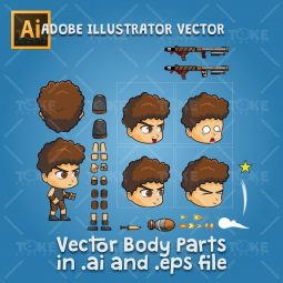 Hardy - Boy 2D Game Character Sprite - Adobe Illustrator Vector Art Based