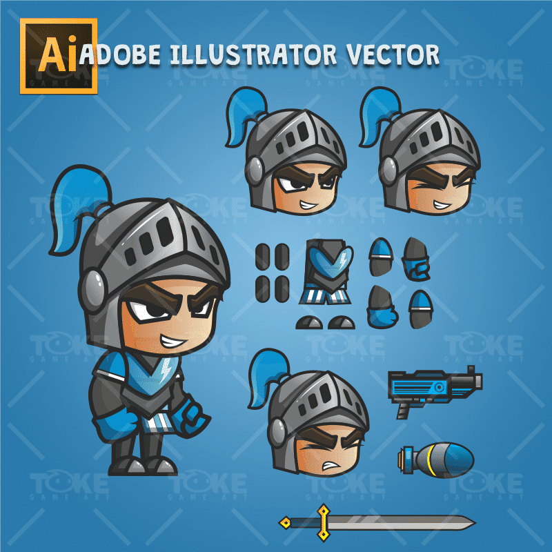 Blue Knight 2D Game Character Sprites - Adobe Illustrator Vector Art Based Character