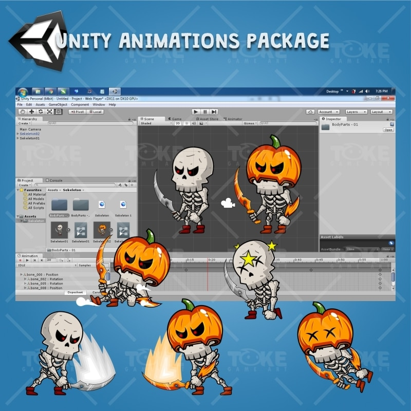 Skeleton Pack Game Character Sprite - Unity Animation Ready with Spriter2Unity Tool