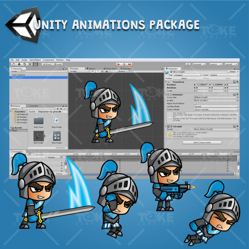 Blue Knight 2D Game Character Sprites - Unity Character Animation Ready