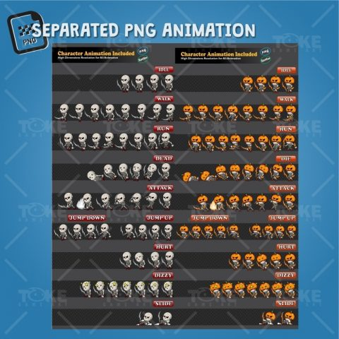 Skeleton Pack Game Character Sprite - PNG Sequences Animation