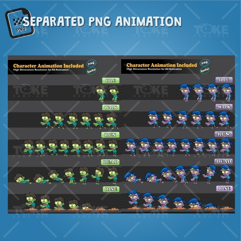 Zombie Pack 2D Game Character Sprite - PNG Sequences Animation
