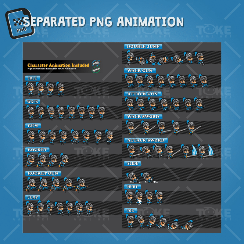Blue Knight 2D Game Character Sprites - PNG Sequences Character Animation