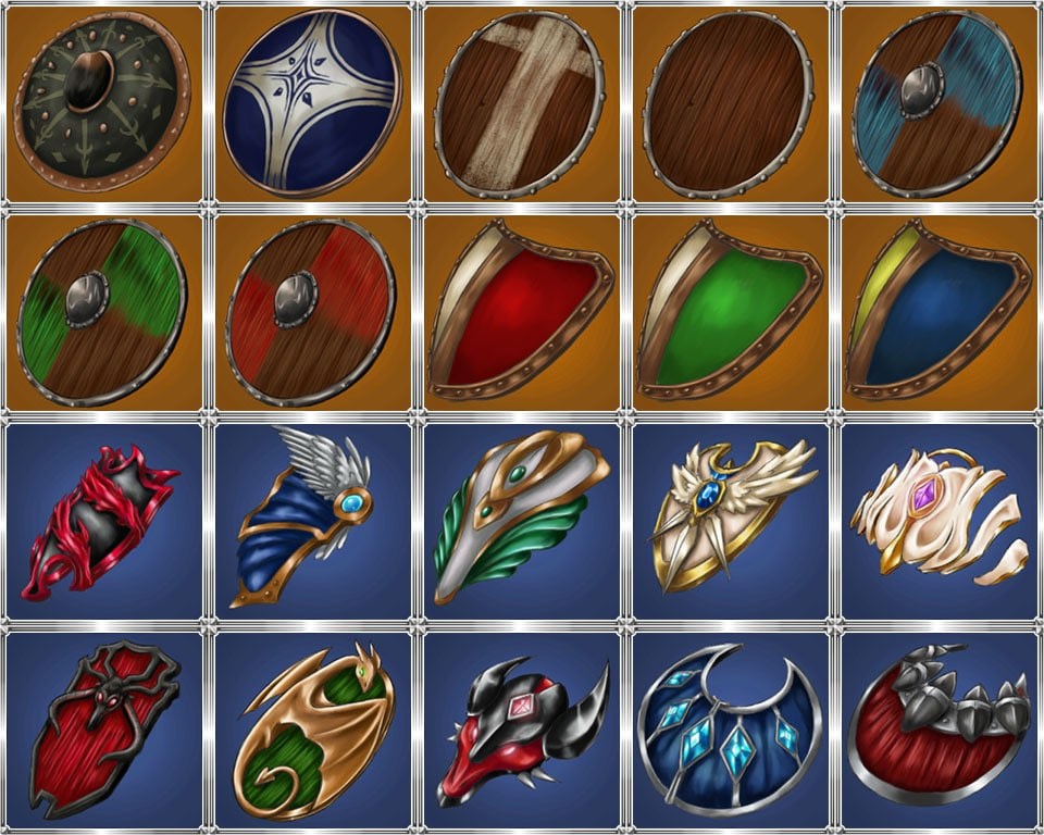 Medieval Hand Painted Shield Icon Pack - Shiled 01