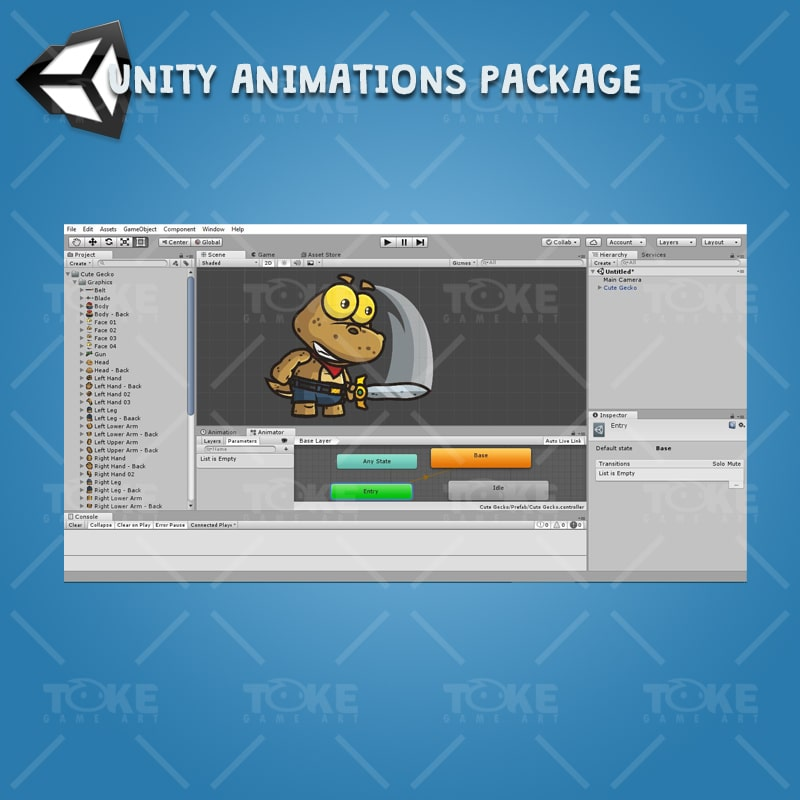 Cute Gecko - Unity Character Animation Ready with Spriter2UnityDX Tool