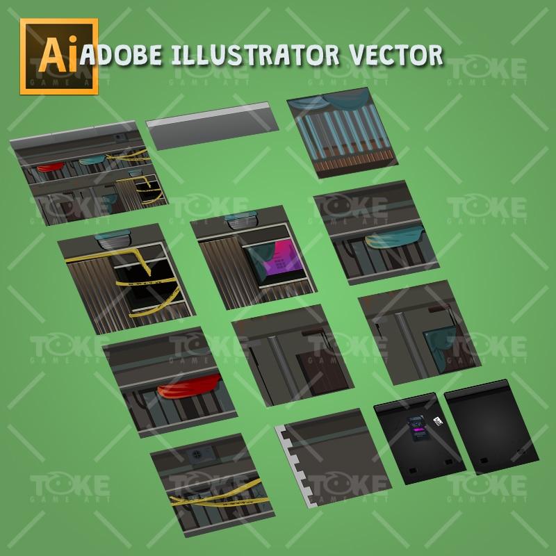 Cyberpunk Platformer Tileset - Buildings Creation