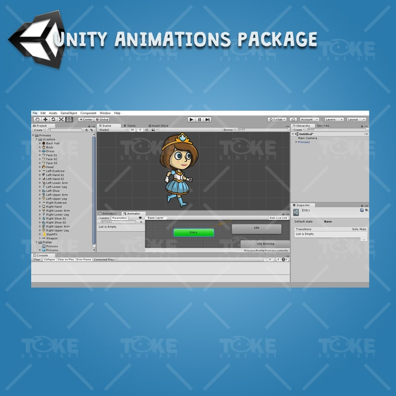Princess - Unity Character Animation Ready with Spriter2UnityDX Tool