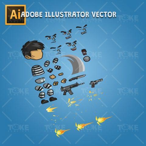 Prisoner - Adobe Illustrator Vector Art Based Character