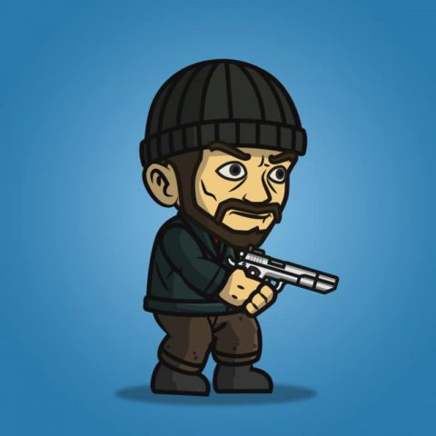Robber - 2D Enemy Character Sprite for Side Scrolling Game