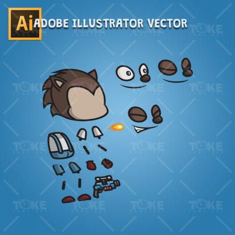 Hedgehog Guy - Adobe Illustrator Vector Art Based Character Body Part