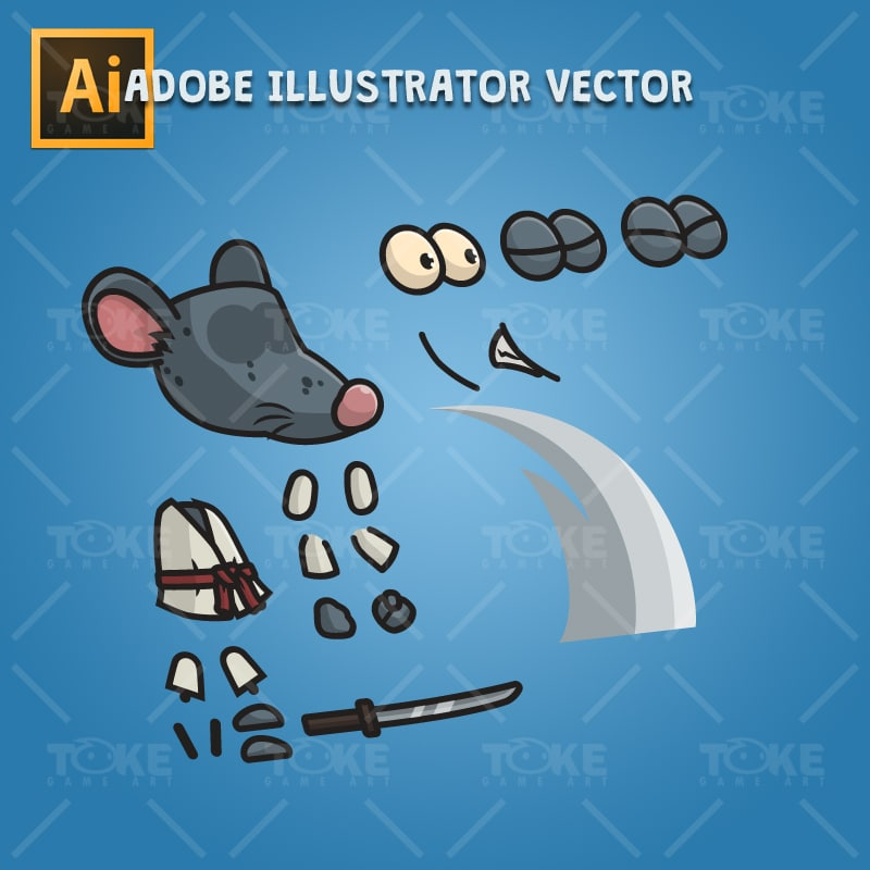 Samurai Mouse - Adobe Illustrator Vector Art Based Character Body Part