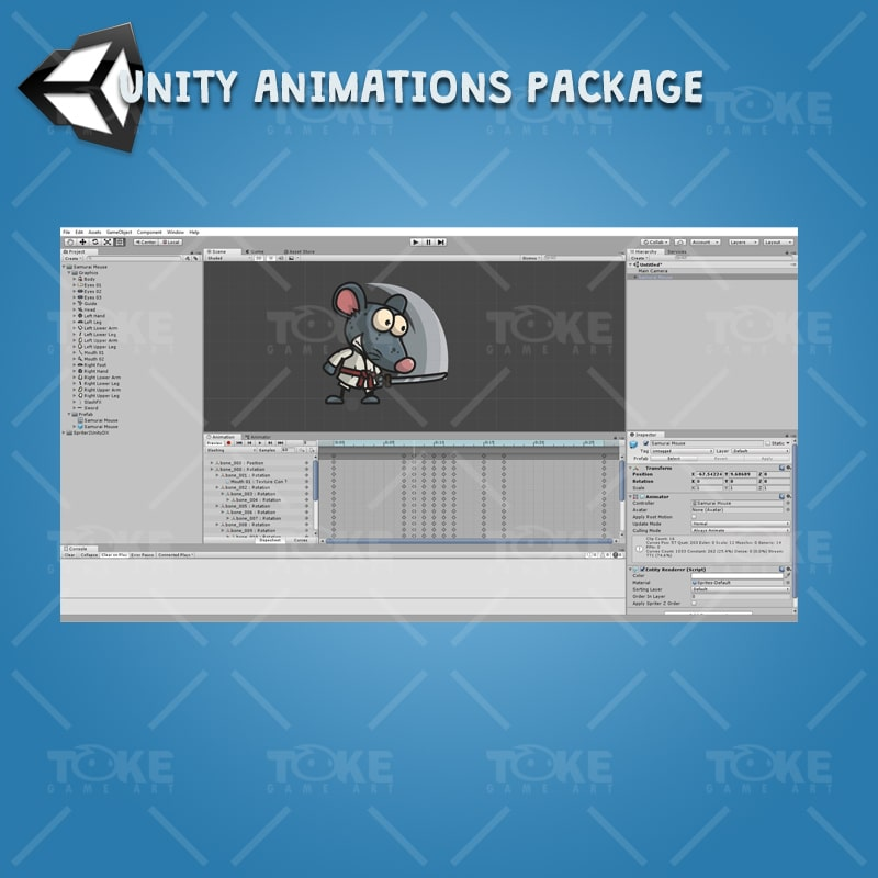 Samurai Mouse - Unity Character Animation Package with Spriter2UnityDX Tool