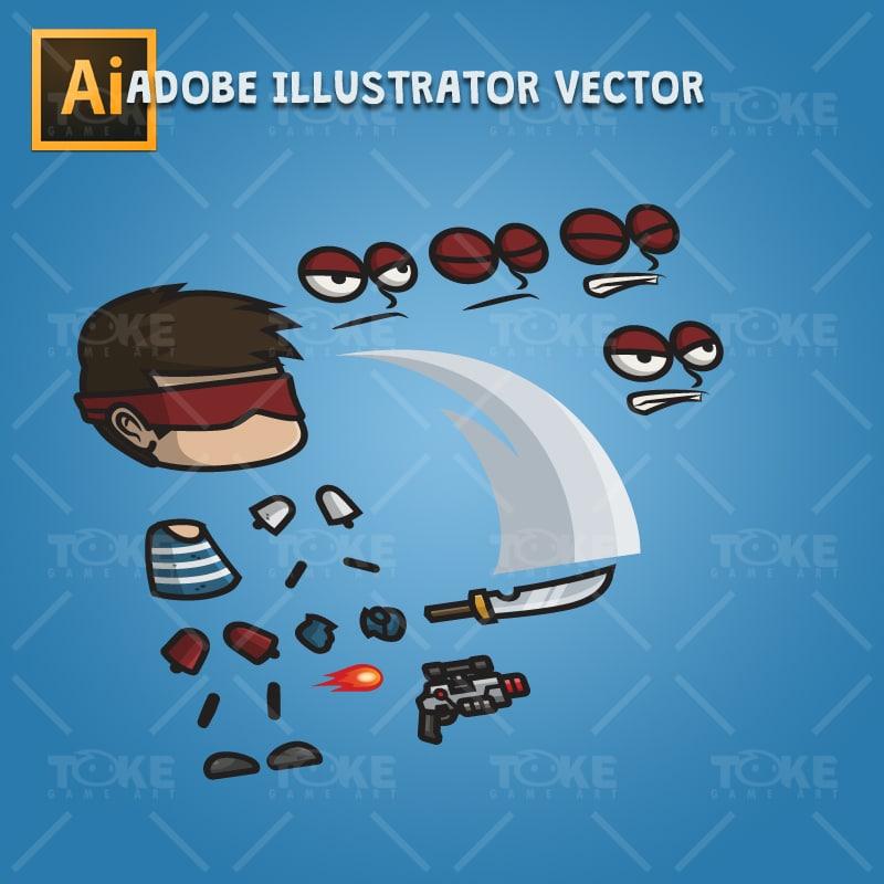 Super Hero Boy - Adobe Illustrator Vector Art Based Character Body Part