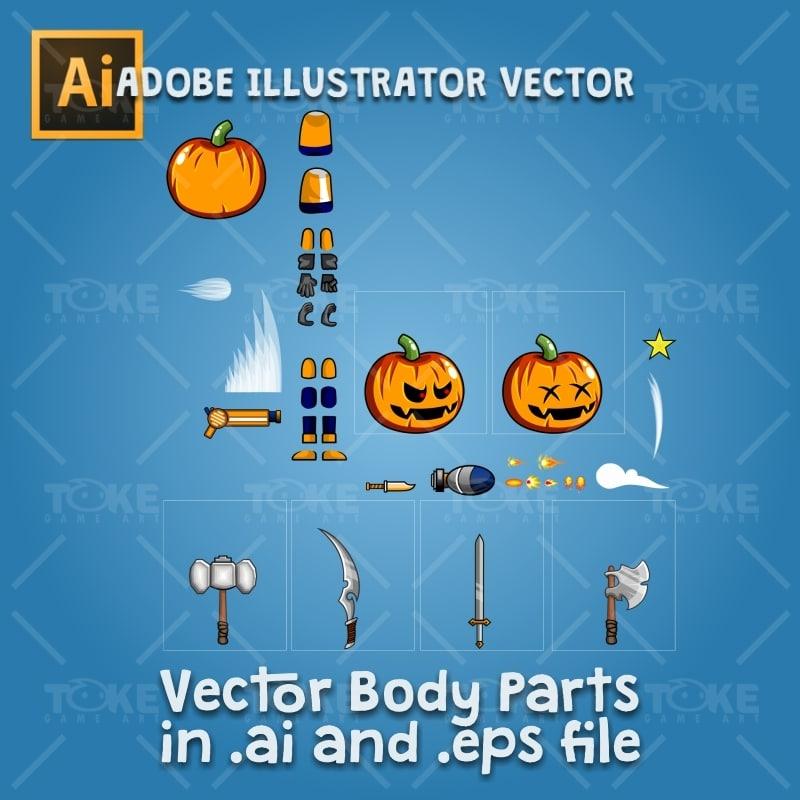 Halloween Boy 2D Game Character Sprite - Adobe Illustrator Vector Art Based