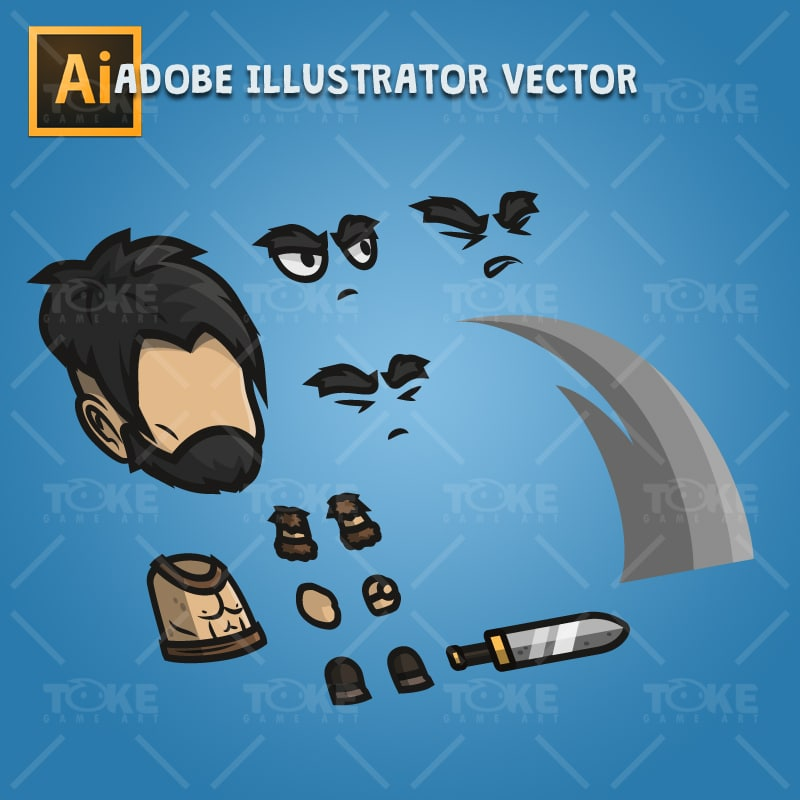 Barbarian Warrior - Adobe Illustrator Vector Art Based Character Body Part