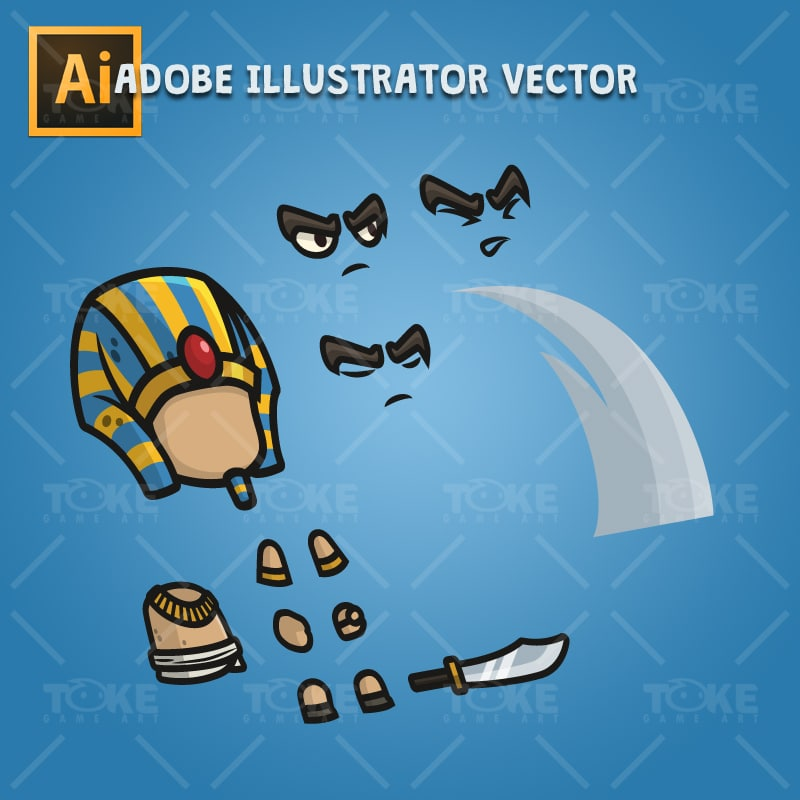 Egyptian Sentry - Adobe Illustrator Vector Art Based Character Body Parts