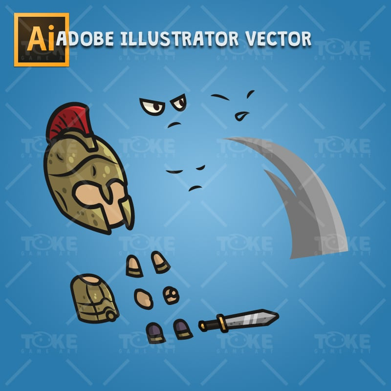 Greek Warrior - Adobe Illustrator Vector Art Based Character Body Parts