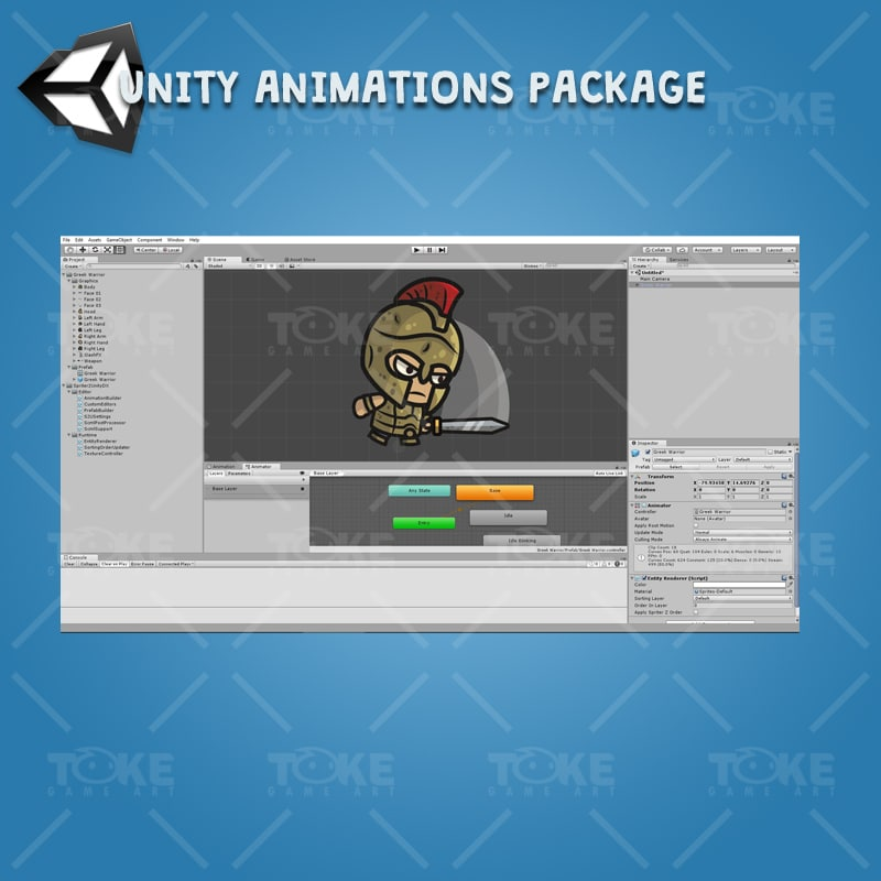 Greek Warrior - Unity Character Animation with Spriter2UnityDX Tool