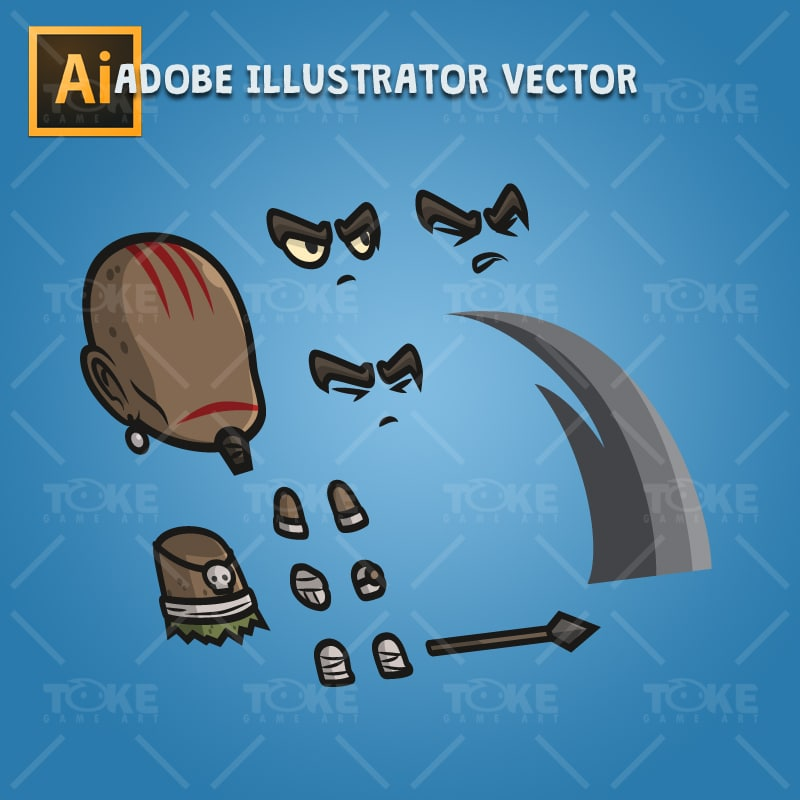Inca Tribe - Adobe Illustrator Vector Art Based Character Body Parts
