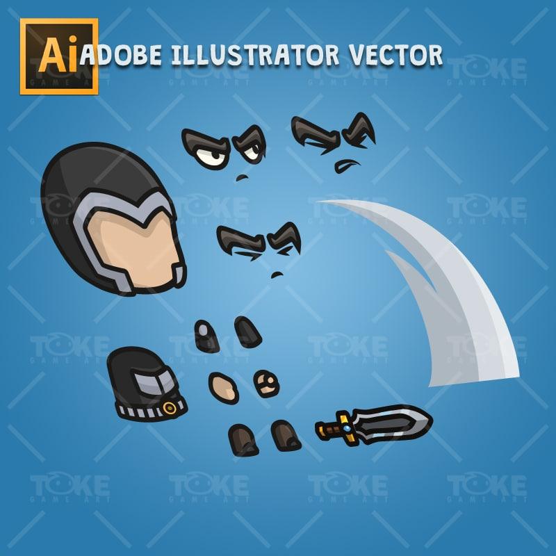 Medieval Knight - Adobe Illustrator Vector Art Based Character Body Part