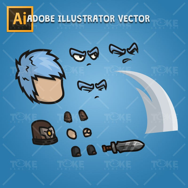 Medieval Warrior - Adobe Illustrator Vector Art Based Character Body Part