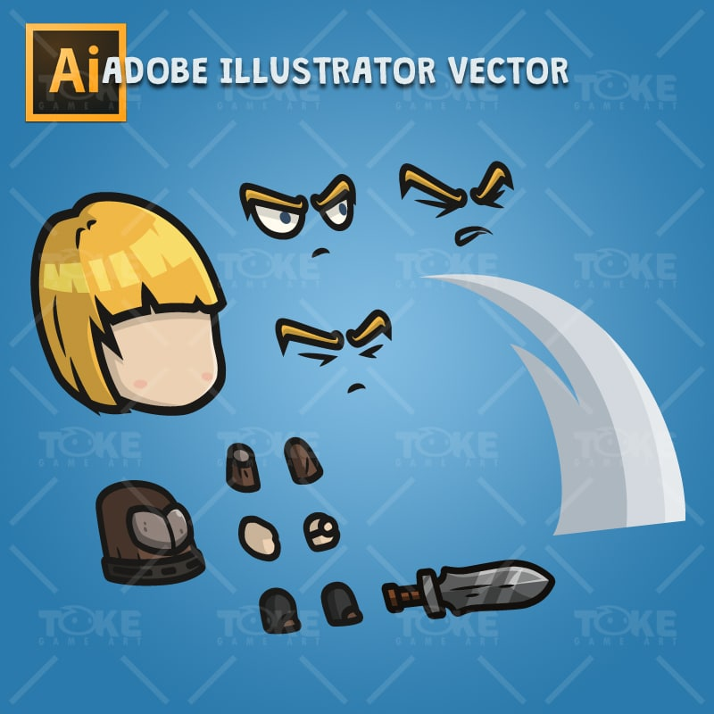 Medieval Warrior Girl - Adobe Illustrator Vector Art Based Character Body Part