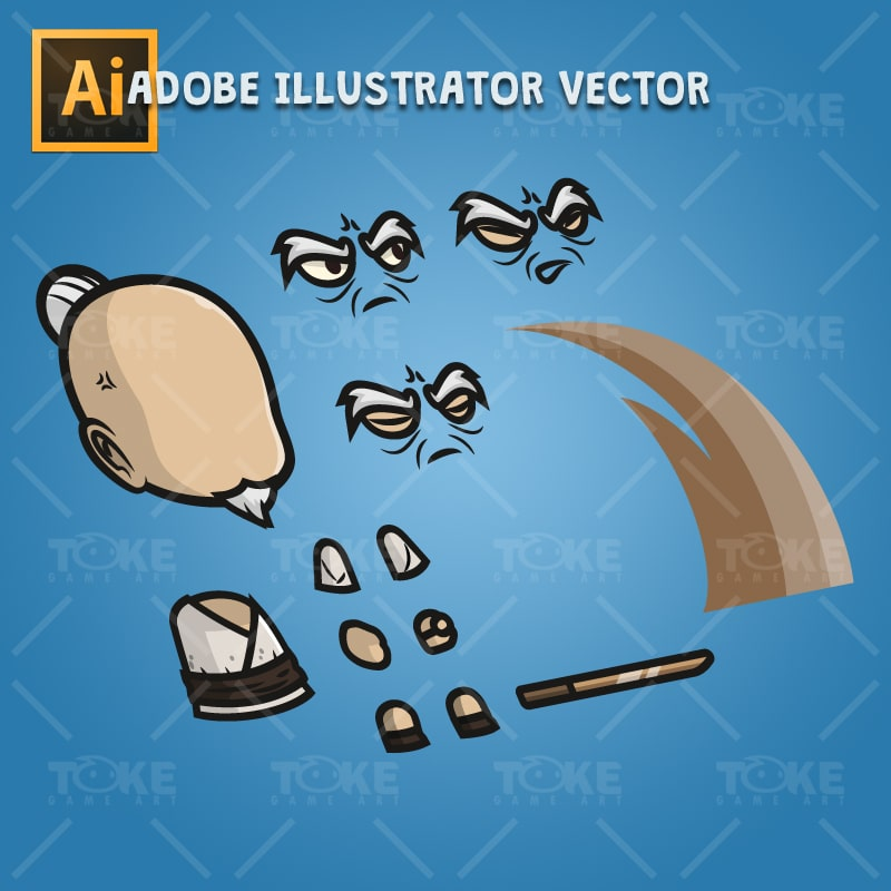 Old Guy - Adobe Illustrator Vector Art Based Character Body Part