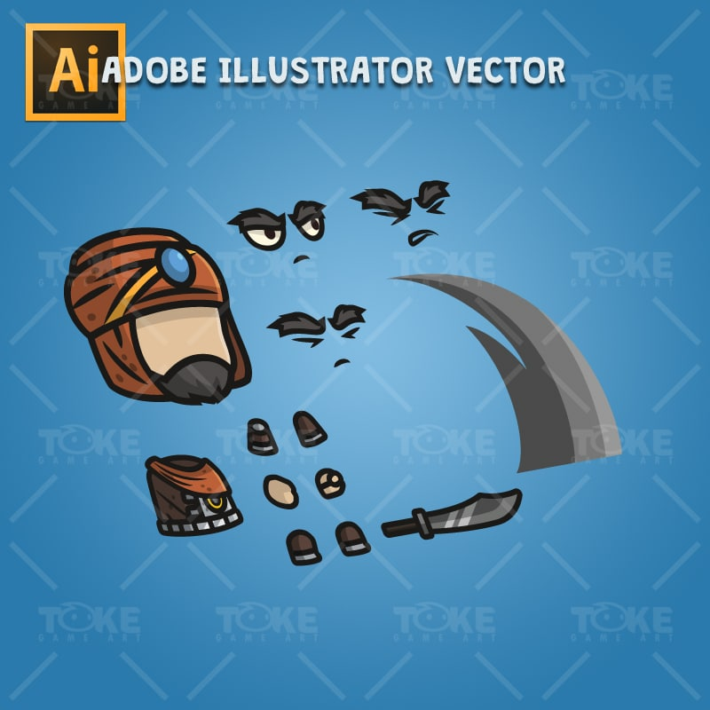 Persian Warrior - Adobe Illustrator Vector Art Based Character Body Parts