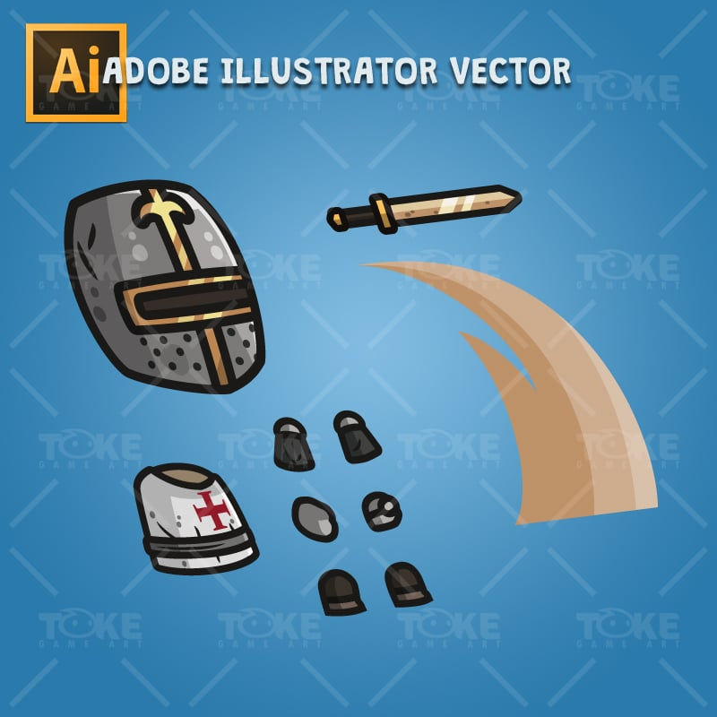 Templar Knight - Adobe Illustrator Vector Art Based Character Body Parts