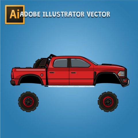 Dodge Ram Rebel TRX - Separated Vector Art