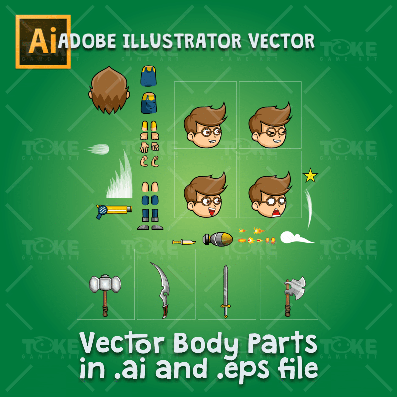 Geek Boy 2D Game Character Sprite - Adobe Illustrator Vector Art Based