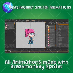 Geek Girl 2D Game Character Sprite - Brashmonkey Spriter Character Animations