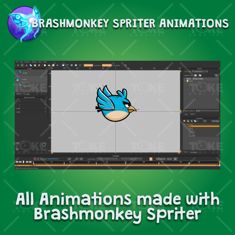 Blue enemy bird - Brashmonkey Spriter Character Animation