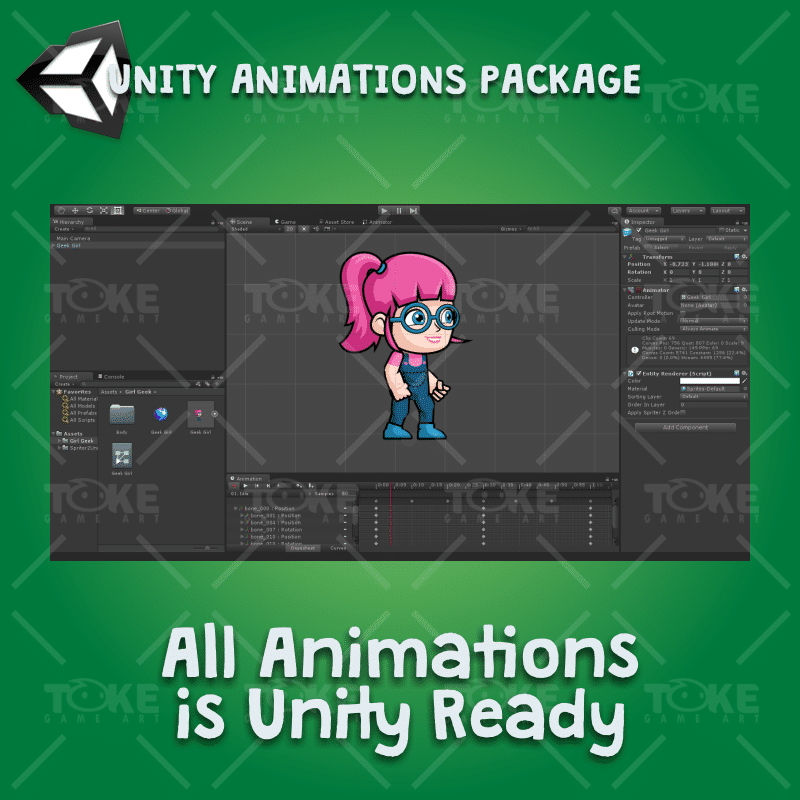 Geek Girl 2D Game Character Sprite - Unity Character Animation Ready