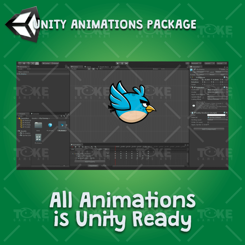 Blue enemy bird - Unity Character Animation Ready