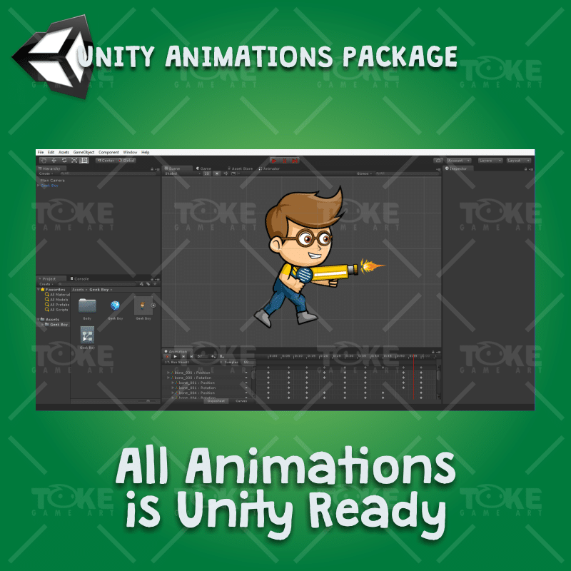 Geek Boy 2D Game Character Sprite - Unity Character Animation Ready