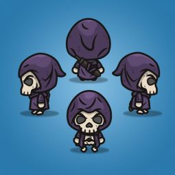 4 Directional Skeleton Knight - 2D Character Sprite for Indie Game Developer