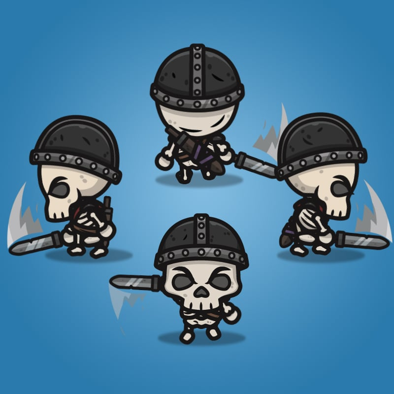4 Directional Skeleton Warrior - 2D Character Sprite for Indie Game Developer