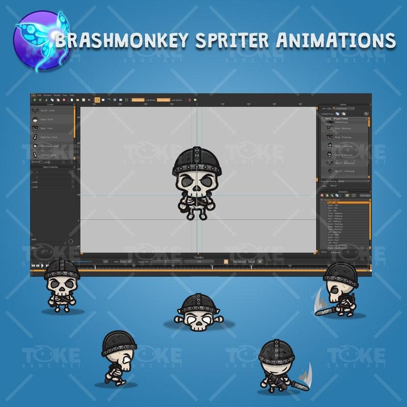 4 Directional Skeleton Warrior - Brashmonkey Spriter Character Animations