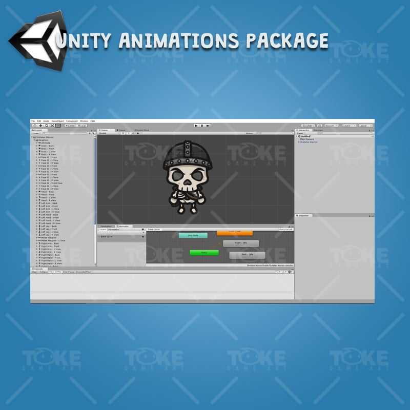 4 Directional Skeleton Warrior - Unity Character Animation Ready with Spriter2UnityDX Tool