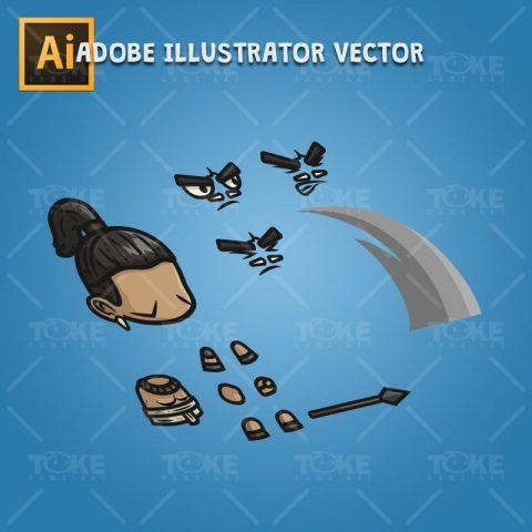 Mayan Tribe Knight - Adobe Illustrator Vector Art Based Character Body Parts