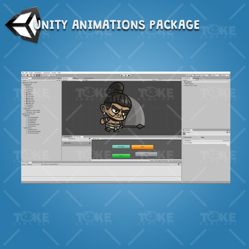 Mayan Tribe Knight - Unity Character Aniamation with Spriter2UnityDX Tool