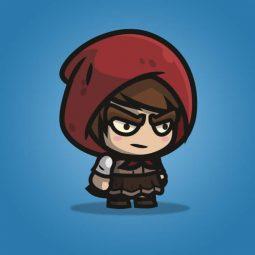 Medieval Hooded Girl - 2D Charatcer Sprite for Indie Game Developer