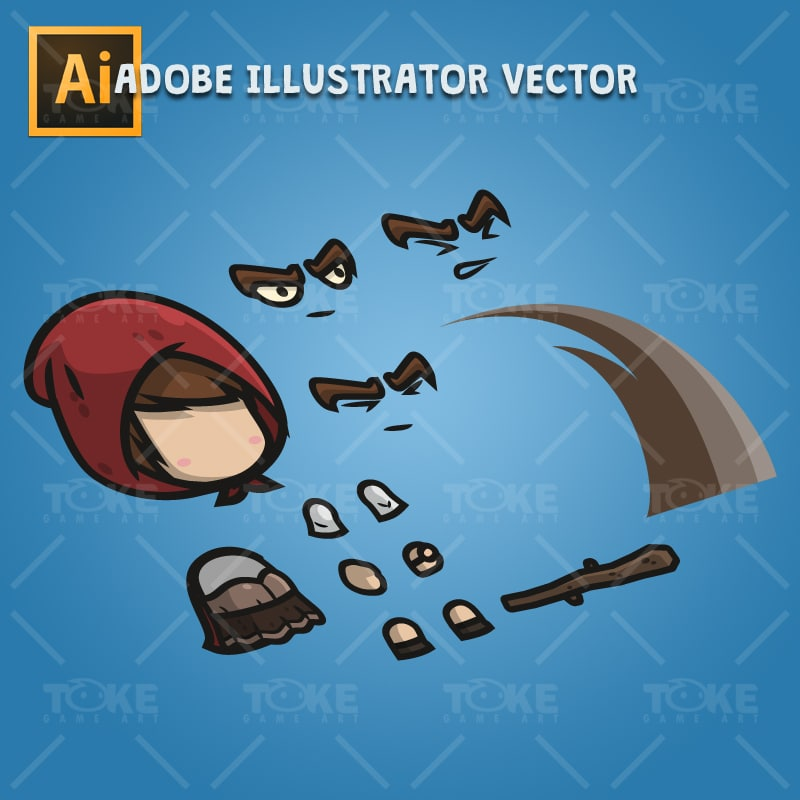 Medieval Hooded Girl - Adobe Illustrator Vector Art Based Character Body Parts