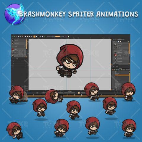 Medieval Hooded Girl - Brashmonkey Spriter Charcater Animations