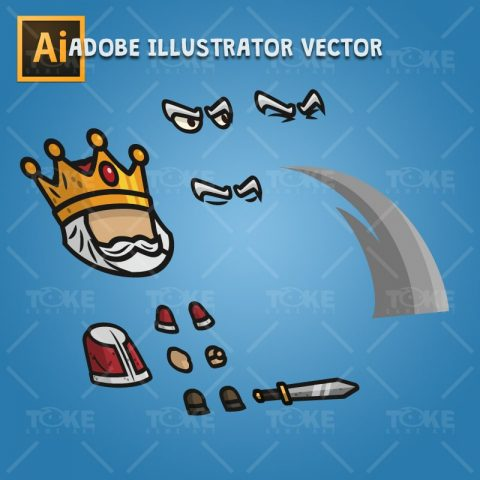 Medieval King - Adobe Illustrator Vector Art Based Character Body Parts