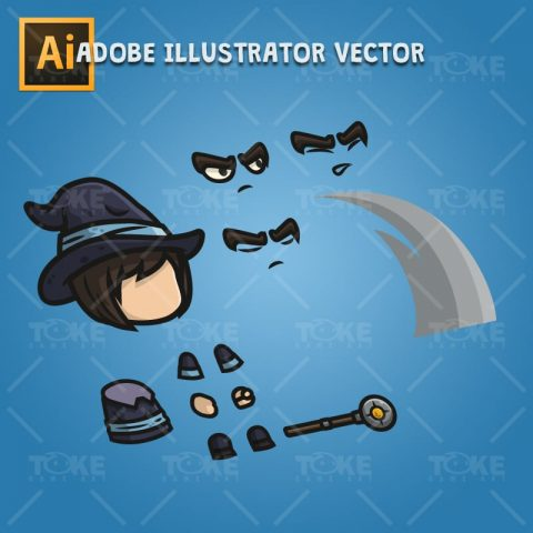 Medieval Mage - Adobe Illustrator Vector Art Based Character Body Parts